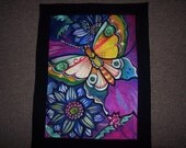 Modern Colorful Embroidered Butterfly  Wallhanging