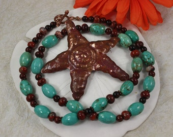 SALE, Turquoise Necklace, Starfish Turquoise & Jasper Necklace
