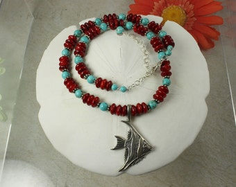 SALE Fish Turquoise Necklace & Coral Sterling Silver