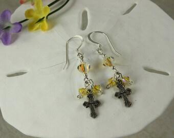 SALE Cross Earrings, Silver Cross, Yellow Crystal Earrings