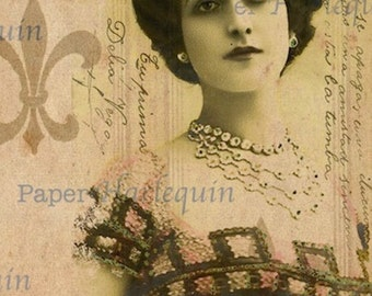 French Collage ELEGANT Paper Crafting altered ART Digital Collage Ephemera Lovely Lady with Crown