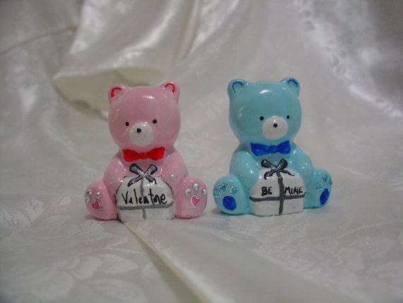 Valentine Teddy Bears - Be Mine Valentine - Cement Statue Figurine - Indoor Outdoor Decoration - Free Shipping
