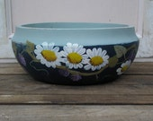 Primitive Wood Bowl Hand Painted with Daisies and Berries Shabby Chic
