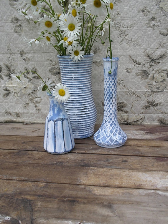 Painted Glass Vase Set - 3 Shabby Chic - Beach Cottage Blues