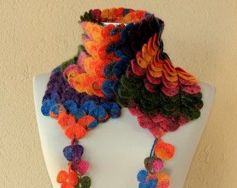 Crochet Long Scarf, Collar Scarf, Crochet Wrap, Chunky Cowl, Mohair Leaf Scarf, Crochet Infinity Scarf, Neck Wrap Blue Pink, Yellow, Orange