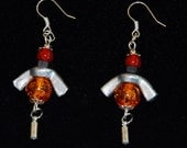 EARRINGS ,ANGEL EARRINGS ,Metal, Red ,Orange ,Wing Nuts, Special ,Sassy, Whimsical ,Funky, Hipster, Industrial Design,  Dare to Wear