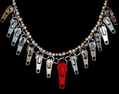 NECKLACE of ZIPPER PULLERS Red Silver Gold Eye Catcher Sophisticated Bold and Chic Unique Funky Boho Dare to Wear