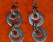 EARRINGS STAINLESS STEEL Metal Silver Washers Funky Hipster Sassy Whimsy Dare to Wear