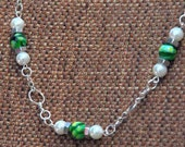 NECKLACE GREEN  MURANO Glass Beads Pearls Stainless Steel Silver  Elegant Feminine Dare to Wear Design Line