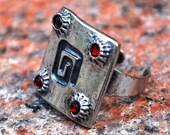 RING Swarovski Crystals EYECATCHER Stunning Elegant Silver  Metal Elegant Boho Chic Unique OOAK