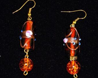 EARRINGS LAMPWORK  GLASs Mouth Blown Orange Red