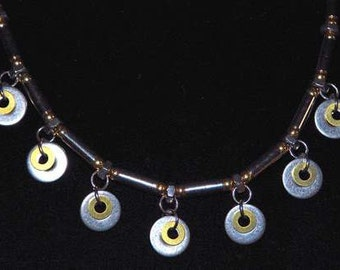 NECKLACE CHOKER Stainless Steel Brass Industrial Design Elegant Modern Eye Catcher Cool Special Whimsy Funky Hipster Dare to Wear