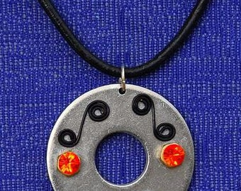 NECKLACE  LEATHERCORD Stainless Steel Brass Pendant Swarowski Crystals Bali Silver Ice and Fire Design Dare to Wear