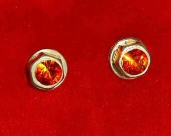 STUD Earrings BRASS SWAROVSKI  Orange Crystals Minimalistic Stylish Ice and Fire Design Line