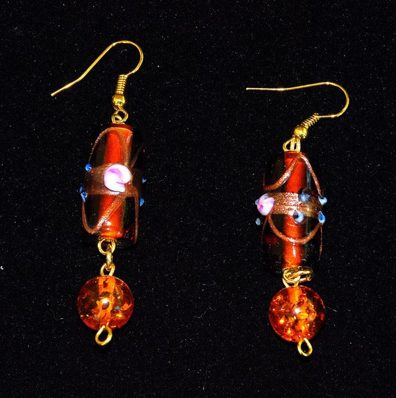 EARRINGS LAMPWORK  GLASs Mouth Blown Orange Red