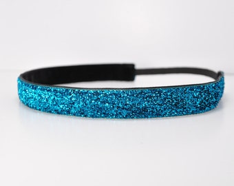 Blue Glitter Headband - Running Headband - Sparkle Headband - Non Slip Headband - No Slip Headband - Dance Headband - Cheer Headbands - Gift