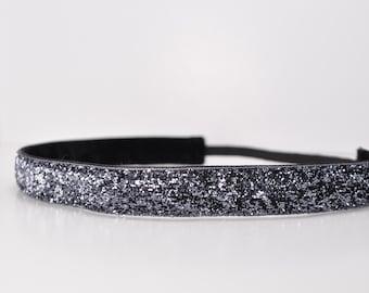 Glitter Headband - Sparkle Headband - Grey Headband - Non Slip Headband - Yoga Headband - Soccer Headband - Running Headband - Workout Gear
