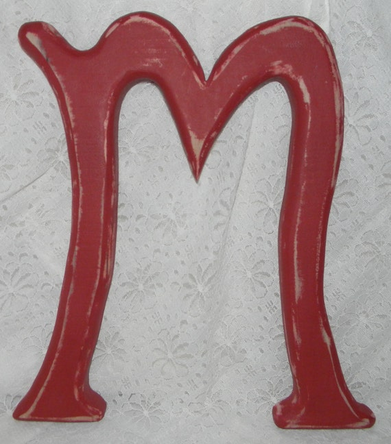 """Distressed Wooden Letter M Wall Decor 12""""  Red"""