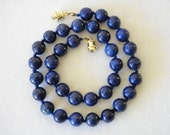 10mm Lapis Lazuli Necklace - VARIOUS Length Options. Rich Blue Beads with High Pyrite Content. Hand Knotted. Therapeutic. MapenziGems.