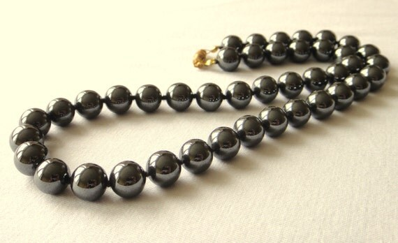 "Hematite Necklace Genuine Natural 10 mm Grey Beads 18"" Hand knotted Haematite MapenziGems"