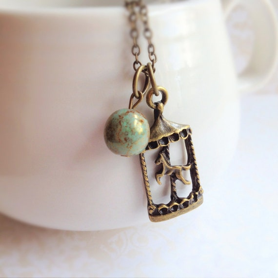 Vintage Style Carousel Horse Necklace. Dainty. Brass Chain. Mint Green. Natural Stone. Whimsical. Romantic. Carnival. Cute. Animal Jewelry.