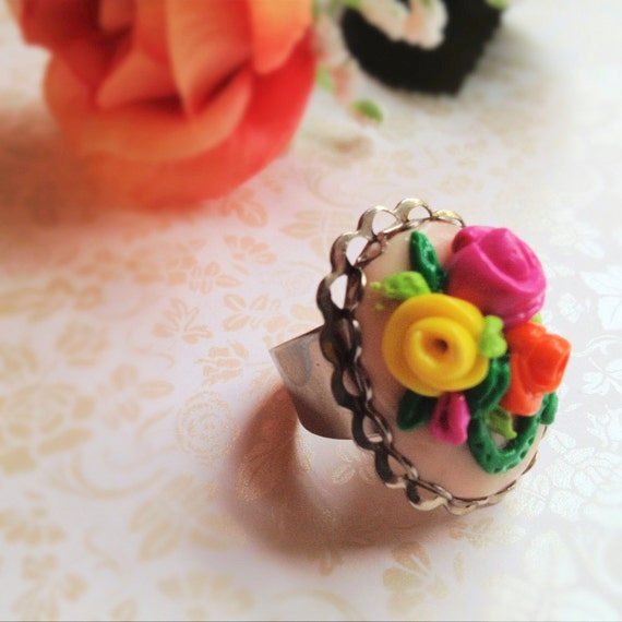 Hand-Sculpted Rose Ring. Adjustable Oval Silver Ring. Polymer Clay. Pink. Yellow. Orange. Green. Romantic. Spring. Floral. Woodland. Summer.