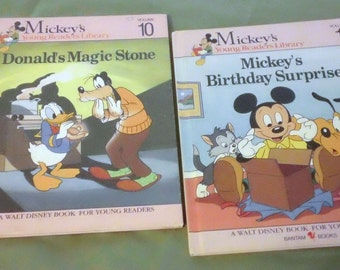 Vintage Mickey's Young Readers Library set of 2 Books Donald's Magic Stone and Mickey's Birthday Surprise Mouse Disney
