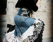 Upcycled Flamenco Skirt, Day of the Dead Lolita Sugar Skull - Steampunk Clothing (Blue Denim, Black and White Polka Dots and Prints)