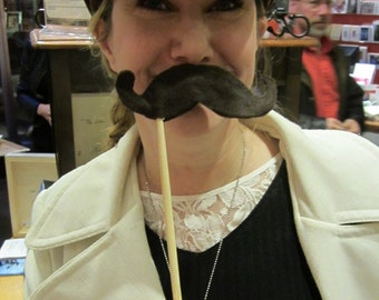 Upcycled Steampunk Felt Mustache on a Stick Handlebar (Dark Brown) - Movember Movement