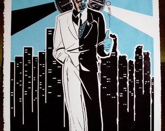 Batman Two-Face Glow in the Dark Pop Art Hand-pulled silkscreen print