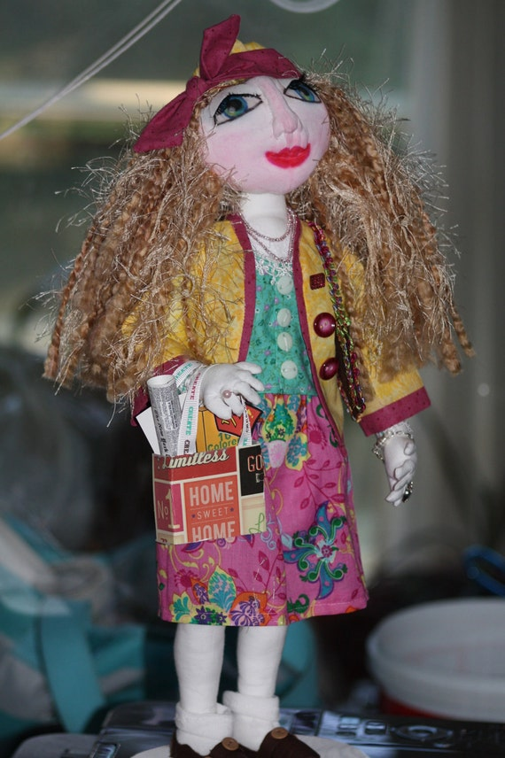 Standing Doll Handmade OOAK Art Doll Jeweled, Dressed, and Ready to Shop Til She Drops