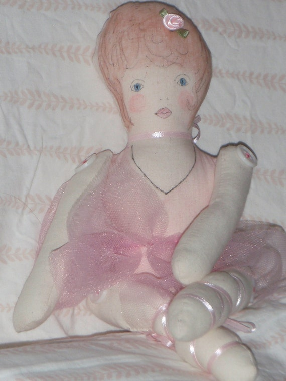 Fabric/Cloth Ballerina Art Doll in a Pink Tutu Handmade OOAK Jointed Arms and Legs