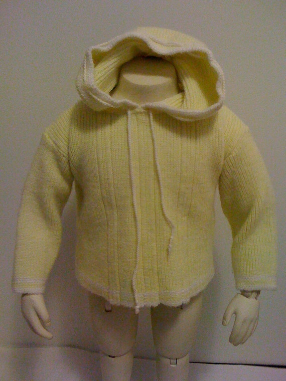Vintage Yellow Hooded Knit Baby Sweater CLEARANCE 50% Off Was 14.00