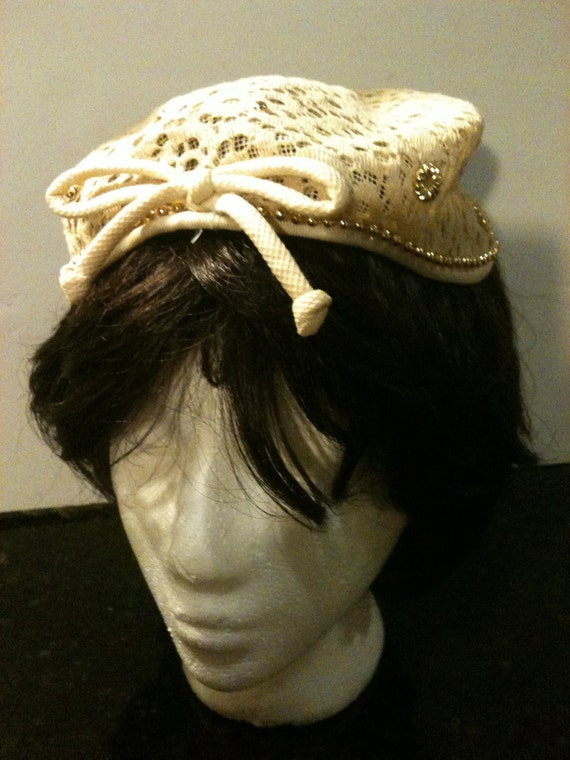 Vintage 50s Tan Hat with Gold Beads Sale