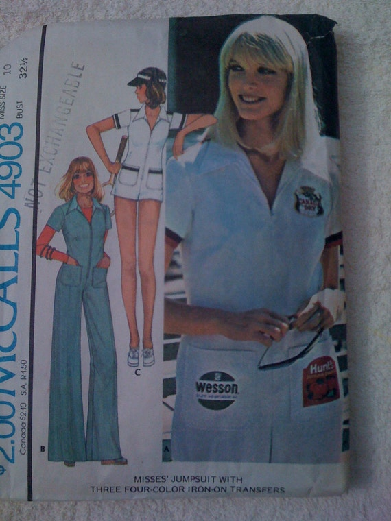 McCalls Sewing Pattern 4903 70s Misses Jumpsuit and Iron On Transfers Size 10