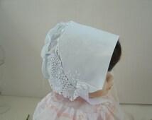 Magic Baby Bonnet Hanky bonnet crochet lace cotton white satin ribbons