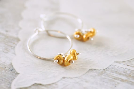 Hoop Earrings - Sterling Silver, Freshwater Pearl, Autumn Fashion, Yellow / Gold, Sunshine, Handmade, Simple, Under 20