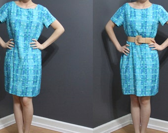 REDUCED /// Vintage 1980s/90s Aqua Blue Watercolors Dress
