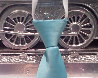 aqua blue handmade little boys neck tie Qty:1