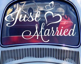 Voiture Just Married signe, autocollant voiture Just Married, mariage Decor, sticker lune de miel, jeunes mariés cadeau, sticker mariage, mariée sticker - AD0001