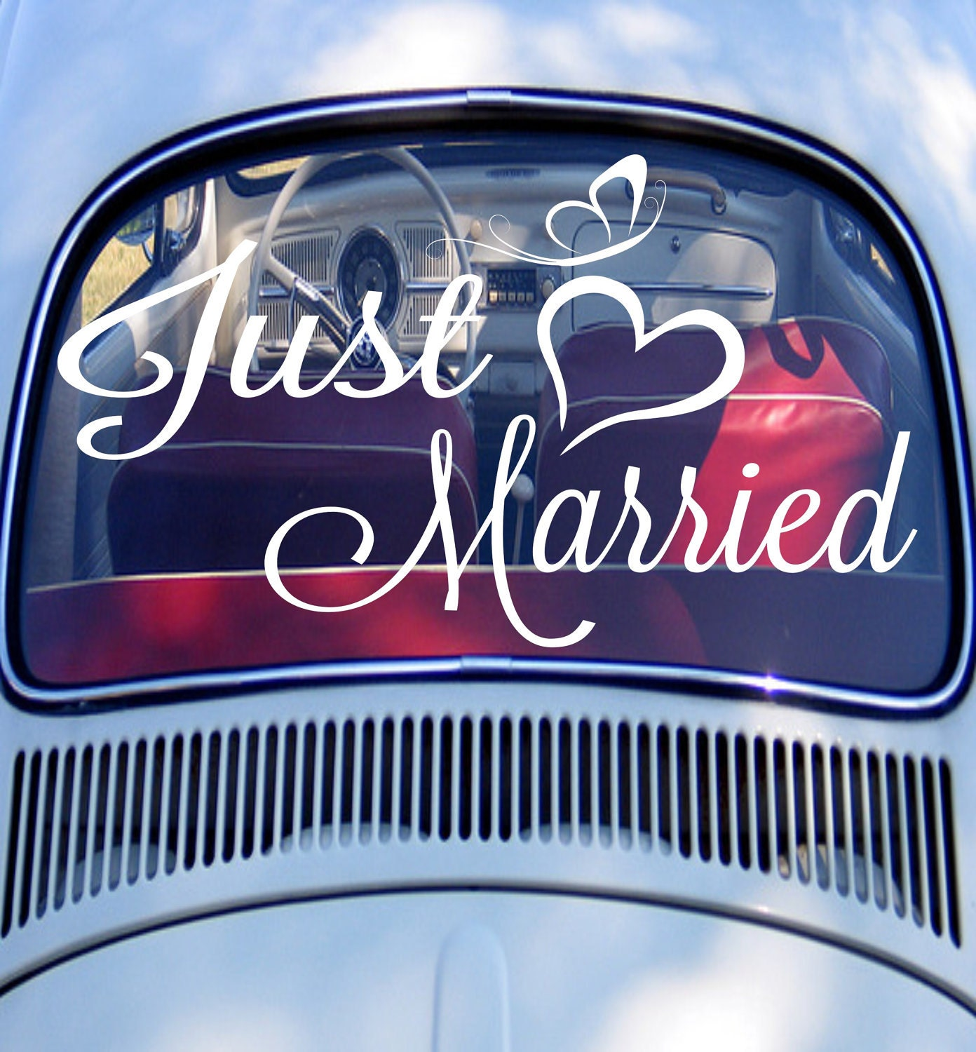 just married car sign just married car decal wedding decor. Black Bedroom Furniture Sets. Home Design Ideas