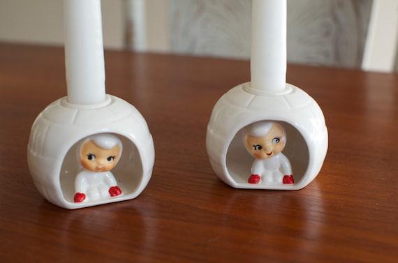 Vintage Holt Howard Pixie Snow Babies Igloo Candle Holders - Pair