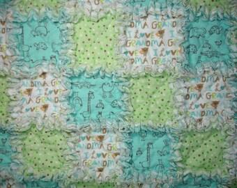 I Love Grandma Flannel Baby Rag Quilt Blanket