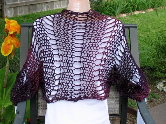 Reserved for Lynne - - - Knit Shrug, Bolero, Knit Scarf Purple