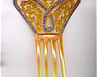 Large Comb with Blue and Green Rhinestones   ITEM NO: 14107