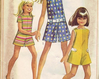 Simplicity Sewing Pattern 1960s Girl's Romper Summer Shorts Pantsuit Jumper One Piece Sleeveless Size 12