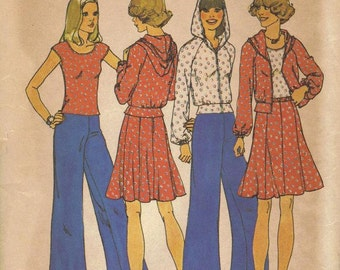 Simplicity Sewing Pattern 70s Retro Wide Leg Pants Hoodie Hooded Jacket Top Mini Skirt Size Small Bust 30