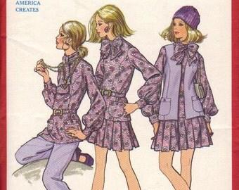 Butterick Sewing Pattern Vintage 1970s Pleated Skirt Bow Neck Blouse Vest Pants Misses Shirt Uncut Size 12 Bust 34