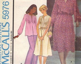 70s Retro Style Dress McCall's Sewing Pattern Long Sleeve Sleeveless Loose Fit Pleated Front Pullover Top Uncut FF Plus Size Bust 42