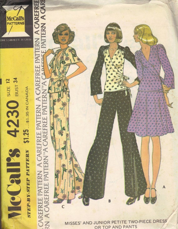 1970s Wide Leg Palazzo Pants Long Short Sleeve Wrap Shirt Low Neck Blouse McCall's Sewing Pattern Disco Fashion Uncut FF Bust 34
